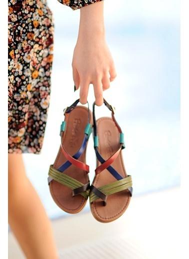 Pembe Potin A202-20 Kadın sandalet Renkli